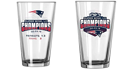 New England Patriots Super Bowl LIII 53 Champions Game Summary 16 Ounce Pint Glass