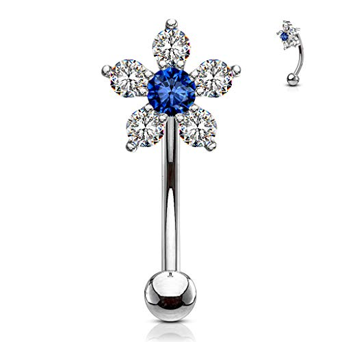 MoBody 16G Double Tiered 6 CZ Flower Top Curved Eyebrow Barbell Surgical Steel Body Piercing Eyebrow Ring (Clear/Blue)