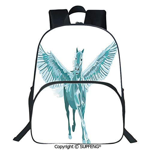 SCOXIXI Laptop Backpack Artistic Blue Pegasus Horse with Open Wings Fantasy Mystery Myth Flight (15.75