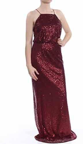 510cd339 Adrianna Papell $179 Womens New 1005 Burgundy Sequined Blouson Dress 8 B+B