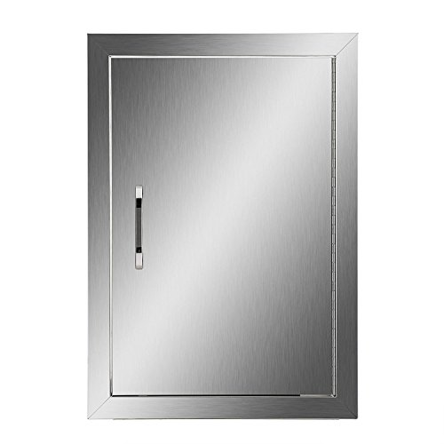 Happybuy BBQ Access Door Double Wall Construction Cutout 14W x 20H In. BBQ Island/Outdoor Kitchen Access Doors 304 Grade Brushed Stainless Steel Heavy - Bbq Islands
