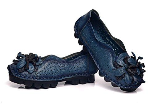 Soojun Womens Leather Casual Loafer Shoes Slip-On Flats With Flower Style 2 Blue wFQEbs1kZt