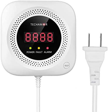 Techamor Y301 Methane Propane Combustible Natural Gas Leak Sniffer Detector Alarm with Voice Warning and Digital Display