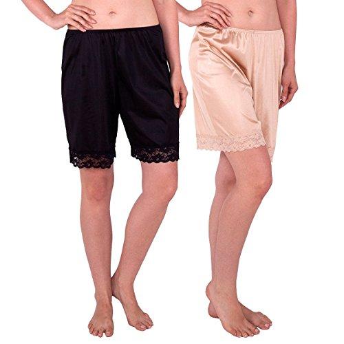 Nylon Bloomers (Under Moments Women's Classic Pettipants Bloomers Nylon boxer-Black-Nude -2XL-2PK)