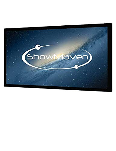 Frame Velvet Fixed Frame - ShowMaven 120 inch Fixed Frame Projector Screen, Diagonal 16:9, Active 3D 4K Ultra HD Projector Screen for Home Theater or Office