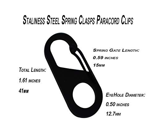 Stainless Steel Carabiner Spring Snap Push Gate Clasp Clip Hook Paracord Lanyard
