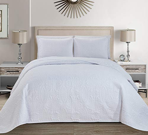 MK Home Mk Collection 3pc Full/Queen Solid Embossed Bedspread Bed Cover Over Size White