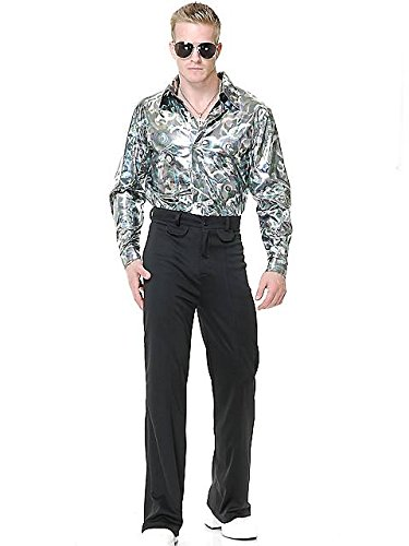 [Silver Hologram Shirt Costume - X-Large - Chest Size 44] (Mens Disco Costumes Pants)