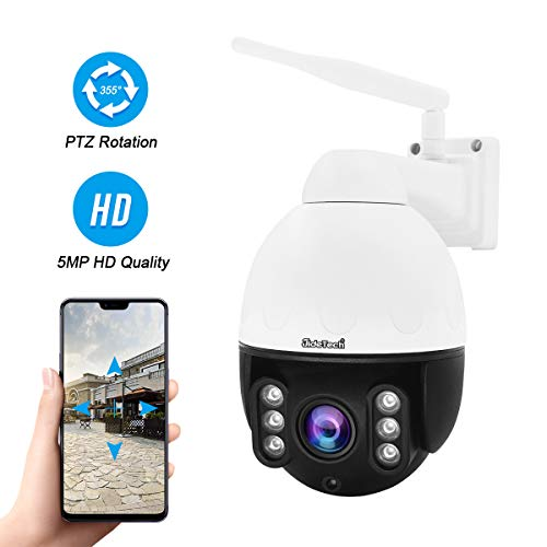 5MP PTZ WiFi IP Camera Outdoor, 1920P HD Wireless Surveillance Camera, 5X Zoom Waterproof Security Camera, 2-Way Audio, Enhanced Night Vision, Smart Detection Alarm, ONVIF, SD Card Slot