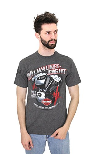 [Harley-Davidson Mens All Real Milwaukee-Eight Heartbeat Charcoal Short Sleeve T-Shirt (2X)] (Milwaukee Harley Davidson)