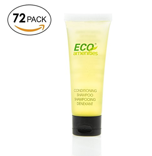ECO AMENITIES Transparent Tube Flip Cap Individually Wrapped 30ml Shampoo & Conditioner 2 in 1, 72 Tubes per Case (Conditioner Case)