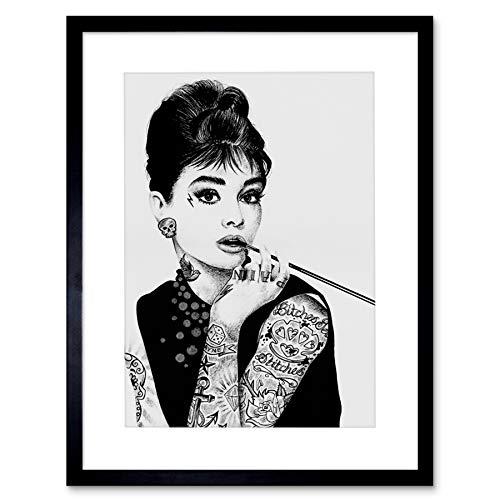 オードリー・ヘプバーンTattoo Inked Ikons Framedアートプリントby W MAGUIRE f97X 12440 9 x 7 inc - 23 x 18 cm ブラック F97X12440_BL