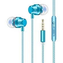Earbuds Stereo Headphones in-Ear Earphones with Microphone Mic Wired Earphone Compatible iPhone iPod iPad Samsung Android Smartphones Tablet Laptop 3.5mm Jack-Blue