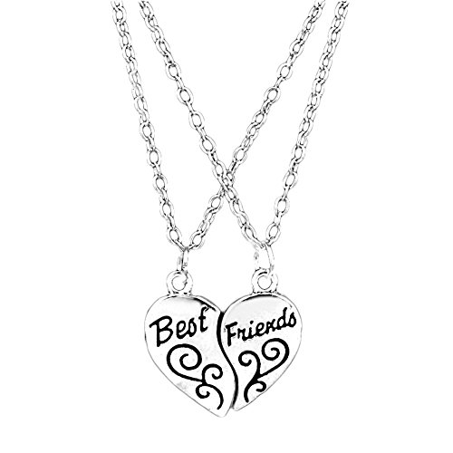 Best Friends Necklace for 2 by Luvalti - Heart Pendant Necklace - Best Friends (Best Friends Lockets)