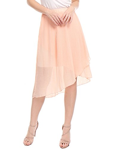 Allegra K Women's Pleated High Low Hem Elastic Waist Chiffon Skirt S Pink