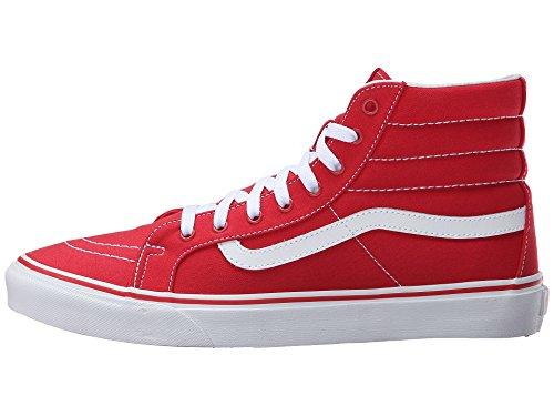 Vans Unisex Sk8-Hi Slim Skate Shoe-Racing Red/True White-7.5-Women/6-Men