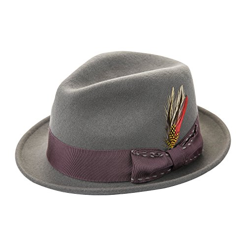 Janetshats Fedora Hat for Men Wool Felt Hat Stain-Resistant Crushable Trilby Handmade Stitching Bowknot Feather 57 cm Size (L(7 3/8-59cm-23.22inch), Gray)