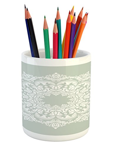 Ambesonne Arabian Pencil Pen Holder, Oriental Pattern Damask Arabesque and Floral Elements Classical Islamic Art Motifs, Printed Ceramic Pencil Pen Holder for Desk Office Accessory, Green White by Ambesonne