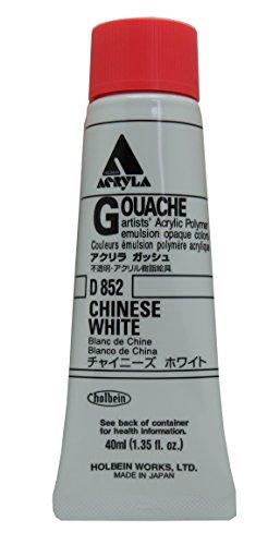 Holbein Acryla Gouache Artists Acrylic Polymer Emulsion, 40ml Chinese White (D852)