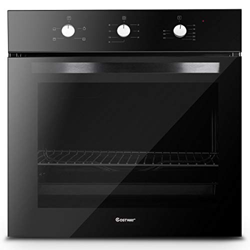 """Costway 24"""" Built-In Single Wall Oven Electric 2.5 Cu. Ft. Capacity Tempered Glass Multi-Function European Convection Oven with Push Buttons Control (4-Functions)"""