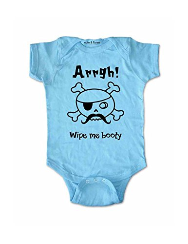 - Arrgh Wipe me booty - cute Pirate baby one piece infant bodysuit (6 Months Bodysuit, Light Blue)
