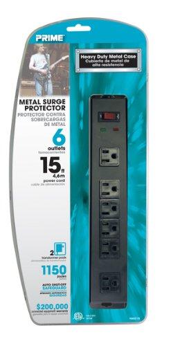 Prime PB802135 6 Outlet 1150 Joule Metal Surge Protector, 15-foot cord, Black (6 Outlet Metal Surge Suppressor)