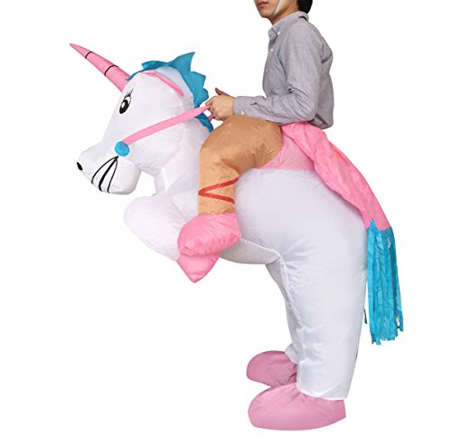 Inflatable Adult Ride On Unicorn Party Halloween Fancy Couple Disguise (Man In A Unicorn Costume)