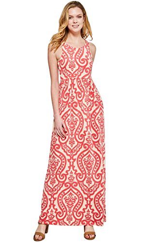 Maxi Dresses for Women Solid Lightweight Long Racerback Sleeveless W/Pocket -Taupe/Coral (Small)