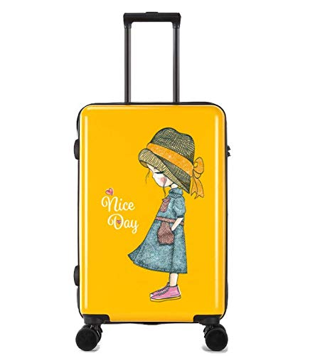 Color : Yellow LIUFENGLONG Cartoon Printing Scratch-Resistant Trolley case Female Small Fresh College Student Suitcase 24 inch Suitcase LIUFENGLONG