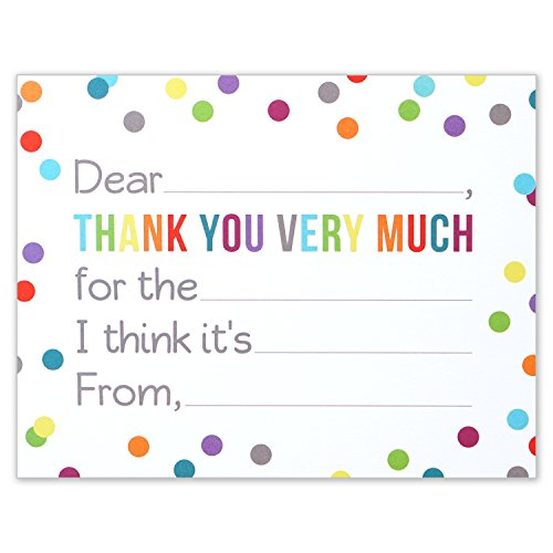 Fill in the Blank Thank You Notes for Kids - Confetti Polka Dot Flat Card and Envelopes - 4.25 X 5.5 Inches - Pack of 15