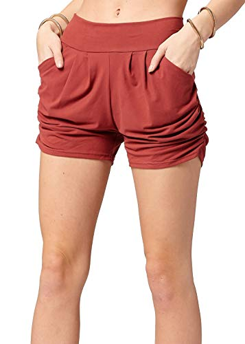 Premium Ultra Soft Harem High Waisted Shorts for Women with Pockets - Solid - Marsala - Small/Medium (0-10)