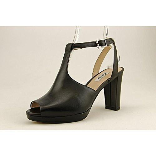 Ankle Clarks Black Leather Sandal Toe Women's Strap Peep Kendra Charm Xqw7pUFq
