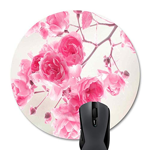 Wknoon Retro Pink Flowers Vintage Floral Print Art Decorate Round Mouse Pad