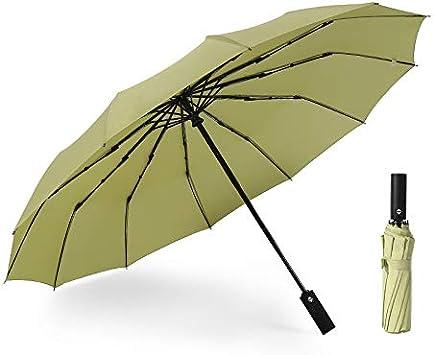JUNDY Paraguas Compacto y Resistente al Viento, Paraguas Plegable, Conveniente para Viajes Paraguas automático Doce Huesos a Prueba de Viento color3 105cm: Amazon.es: Hogar