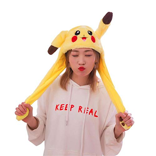 Funny Plush Pikachu Hat, Ear Moving Jumping Hat, Cosplay Costumes Accessories Cap Plush Toy]()