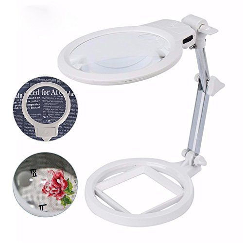Large Magnifying Glass Lamp with Led Light and Stand Magnifier Loupe Visor 2.5X 5X Hands-Free for Close - Magnifier Loupe Stand