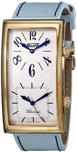 Gold Tone Ivory Dial - Tissot Men's T56.5.633.39 Heritage Ivory Dial Leather Strap Watch