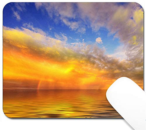 MSD Mouse Pad with Design - Non-Slip Gaming Mouse Pad - Image ID: 7047931 HDR Golden Sunset Across a Lush Green Field