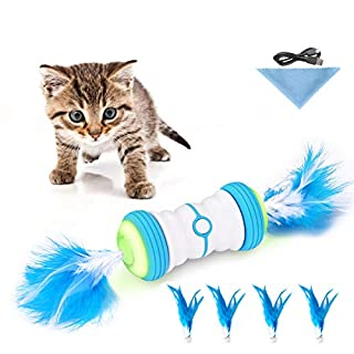 Cat Toys for Indoor Cats,Interactive Robot Cat Toys,Automatic Irregular 360 Degree Cat Toys, 2 Speed Mode Auto Feather Toys with USB Rechargeable,Feather,Build-in Corful Light,Catnip for Cats(Blue)