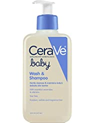 CeraVe Baby Wash & Shampoo | 8 Ounce | Fragrance, Paraben, & Sulfate Free Shampoo for Tear-Free Baby Bath Time