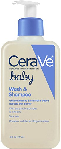CeraVe Baby Wash and Shampoo 8 oz with Essential Ceramides and Vitamins for Gently Cleansing Baby's Skin and Hair