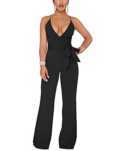 Dreamparis Women's Sexy Deep V Neck Wide Leg Jumpsuits Wrap Backless High Waist Sleeveless Belted Flare Rompers Small Black