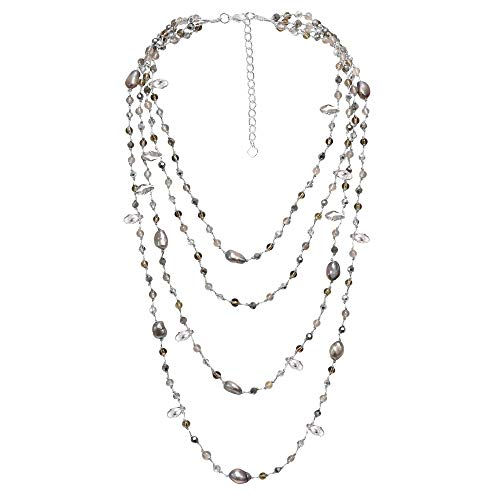 AeraVida Silvery Cultured Freshwater Grey Pearl and Stones Multiple Strand Layered -