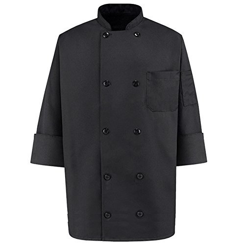 350 Chef Apparel 10 Pearl Button Chef Coat-Easy-Care Twill - Black - ()