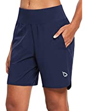 BALEAF Women's Long Running Shorts with Liner 7 Inches Quick Dry Lounge Sport Workout Gym Walking Lined Shorts Phone Back Zipper Pocket