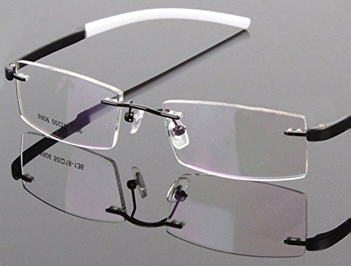 TR90 White BLK Flexible Rimless Hinged Optical Eyeglass Frame Spectacles Rx 8906
