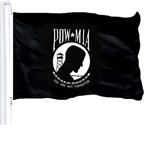 G128 - POW MIA Black Flag 3x5 Ft Printed 150D Polyester Flag You are Not Forgotten Prisoner War Brass Grommets Indoor/Outdoor - Much Thicker More Durable Than 100D 75D Polyester