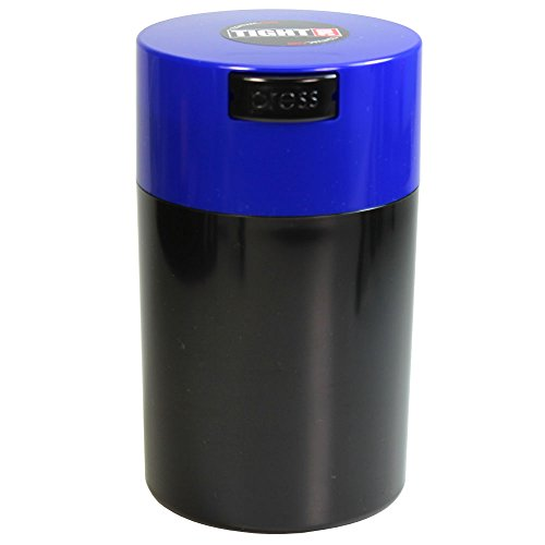 Tightvac - 1 oz to 6 ounce Airtight Multi-Use Vacuum Seal Portable Storage Container for Dry Goods, Food, and Herbs - Dark Blue Cap & Black body by Tightpac America, Inc.