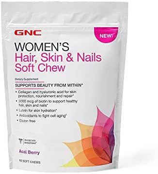 GNC Womens Hair, Skin Nails Soft Chew, Acai Berry, 60 Chews, Supports Beauty from Within