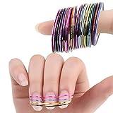 levylisa 30 Rolls Nail Sticker Line Mixed Color